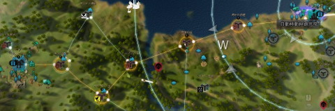 オルビア村とベリア村を拠点接続した例