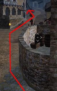 右方向へ進み奥の階段を目指す