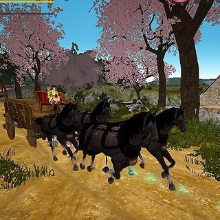 馬放置レベル上げには商団馬車&銀刺繍トレーナーの服