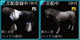 【馬交配#44】7世代馬Lv.27♂ × 5世代野生馬Lv.30駿馬♀ ⇒ 7世代♂