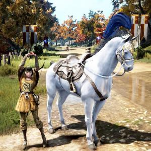 7世代白馬♀「ニくトえ壱」とくつろぐ騎手