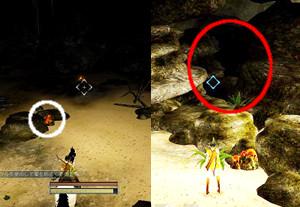 海岸の洞窟にある秘密の洞窟