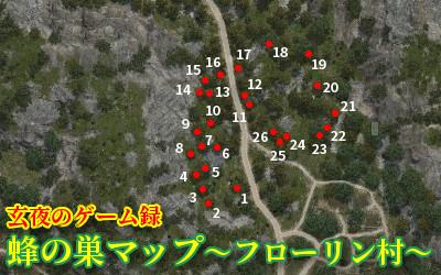 【黒い砂漠】蜂の巣マップ~フローリン村~