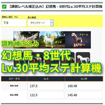 【調教レベル補正込み】幻想馬・8世代Lv.30平均ステ計算機