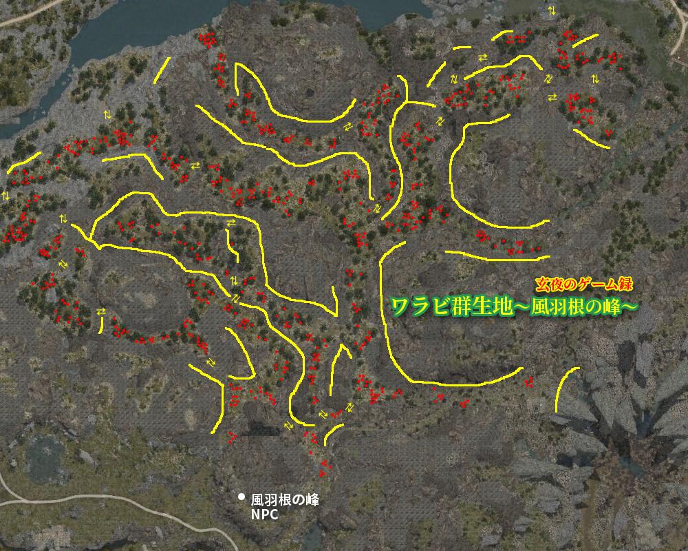 【黒い砂漠】ワラビ群生地マップ~風羽根の峰~