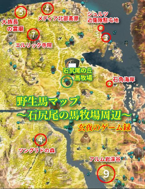 【黒い砂漠】野生馬マップ2020~石尻尾の丘馬牧場周辺(メディア)~